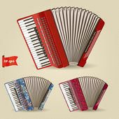 Accordion. Set of musical instruments. — Stock Vector