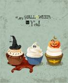 Halloween poster with cupcakes, pumpkin, ghost, witch hat, spiders, spider webs. — ストックベクタ