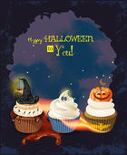 Halloween poster with cupcakes, pumpkin, ghost, witch hat, spiders, spider webs. — Stock Vector