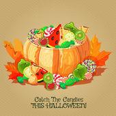 万圣节海报与树木,南瓜,蝙蝠,月亮,秋天的树叶蜘蛛. — 图库矢量图片