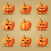 Halloween poster with trees, pumpkins, bats, moon, autumn leaves, spiders. — Stock Vector