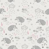 Seamless pattern with trees, shrubs, foliage, animals on light background in vintage style. — Stock Vector