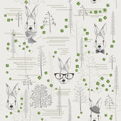 Seamless pattern with trees, shrubs, foliage, animals on light background in vintage style. — ストックベクタ