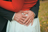 Happy couple holding hands in park — Stock Photo