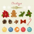 Christmas set with snowflakes, balls, candy, bow, gingerbread man, fir cones, red berries. — Vector de stock  #55857111