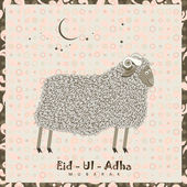 Cute sheep with stars for Muslim community festival Eid-Ul-Adha celebrations. — Stock Vector