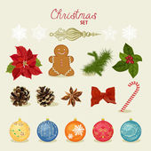 Christmas set with snowflakes, balls, candy, bow, gingerbread man, fir cones, red berries. — Stock Vector