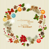 Christmas wreath with christmas tree, pine cones, Christmas decorations, berries, flowers and ribbons. New Year's Eve. Postcard. — Stock Vector