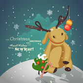 Christmas reindeer with christmas tree, balls and snowflakes. — Stock Vector