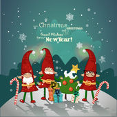 Vintage Christmas poster design with Christmas Elves. — Stock Vector