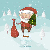 Christmas card with Santa Clous, Christmas tree, sack with gifts. Drifts. Snow. Snowflakes. — Stock Vector