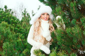 Woman in a hat, mittens, scarves, sweaters, fur in winter fir forest — Photo