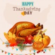 Thanksgiving day. Greeting card with turkey, pumpkin, autumn leaves, apples, berries, fruits, vegetables. — Stock Vector #57792993