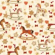 Seamless christmas pattern with rocking horse, christmas tree, candles, red bows, gingerbread, berries, golden bells in vintage style. — Stock Vector #59687789