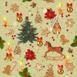 Seamless christmas pattern with rocking horse, christmas tree, candles, red bows, gingerbread, berries, golden bells in vintage style. — Stock Vector #59688013