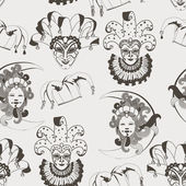 Seamless pattern with carnival venetian colorful mask on traditional background — ストックベクタ