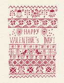 Valentines day greeting card in vintage hipster style. Doodle design. Hand drawn illustration. — Stockvector