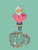 Valentines day greeting card in vintage hipster style. Doodle design. Hand drawn illustration. — Stockvector