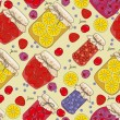 ������, ������: Seamless pattern jam with cherries oranges blueberries mandarin oranges fruit berries in vintage style