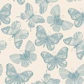 Butterflies seamless pattern in doodle style. — Stock Vector