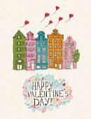 Valentines day greeting card in vintage hipster style. Doodle design. Hand drawn illustration. — Wektor stockowy