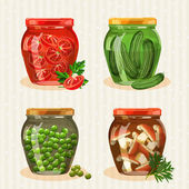 Set of jars with vegetables. — Wektor stockowy