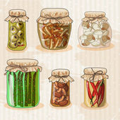 Set of jars with vegetables.  Hand-drawing. — Wektor stockowy