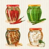Set of jars with vegetables. Mushrooms, peppers, garlic, pickles, pickled asparagus. — Stock Vector