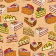 Seamless pattern with pieces of cakes, pies in doodle vintage style. — Stock Vector #62525337