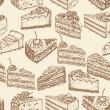 Seamless pattern with pieces of cakes, pies in doodle vintage style. — Stock Vector #62525675