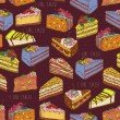 Seamless pattern with pieces of cakes, pies in doodle vintage style. — Stock Vector #62526973