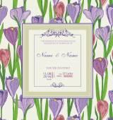 Wedding invitation with flowers. Spring crocus. — Stock Vector