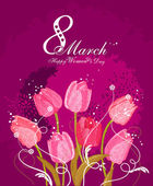 Happy Women's Day background with spring flowers. 8 March. Greeting card with text Women's Day. — Stock Vector