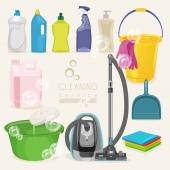 Cleaning kit icons. Supplies. — Stock Vector
