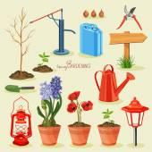 Spring gardening. Garden icon set — Stock Vector