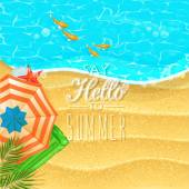 Seaside view on sunny day with sand, fish, beach umbrella and palm leaves. Top view. — Stock Vector