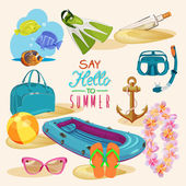 Summer tropical set — Stock Vector