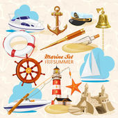 Set of nautical or naval elements — Stock Vector