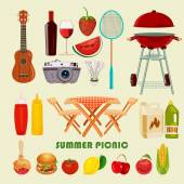 Vector illustration family picnic. Summer, spring barbecue and picnic icons set. Vintage style. Snacks, vegetables, healthy food. Party items, decorations. — Stock Vector