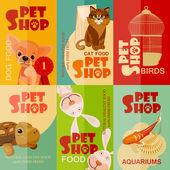 Vintage pet shop poster design. Set — Stock Vector