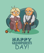 Happy grandparents day vector greeting card in doodle design. — Stock Vector
