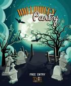 Halloween party vector invitation card — Stock Vector