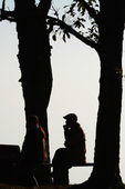 Silhouette people sitting on bench , Phu Rua in Thailand — Foto de Stock
