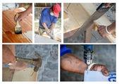 Carpenter' s hands using tool — Zdjęcie stockowe