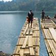 Bamboo rafts in Cheow Lan lake, Khao Sok National Park, Thailand — Stock Photo #53325611