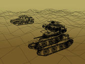 Battle tank on sand wire frame ,war concept — Stock Photo