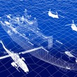 Warship with helicopter 3d wire frame on water — Stock Photo #53772325