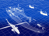 Warship with helicopter 3d wire frame on water — Stock Photo