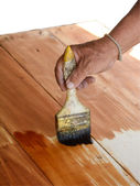 Carpenter s hands paintbrush varnish to wood table isolate on white — Stock Photo