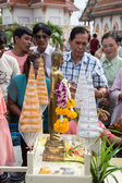 Samutprakarn, THAILAND - OCT 09 : Buddhist monks are given food offering from people for End of Buddhist Lent Day. on October 09, 2014 in Samutprakarn, Thailand. — Stock Photo